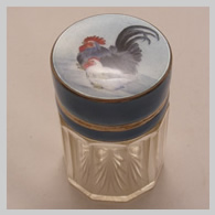enamelled silver and glass jar